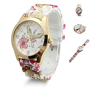 Sannysis Hot Fashion Women Dress Watch Silicone Printed Flower Causal Quartz Wristwatches (Wine Red)