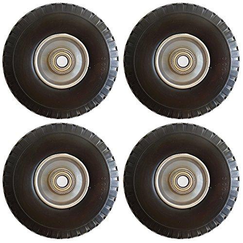 Preisvergleich Produktbild 4 Stück Sackkarren-rad Stahl-Felge mit Stahl Kugelager Bollerwagen-rad 260 mm für Achse 20mm