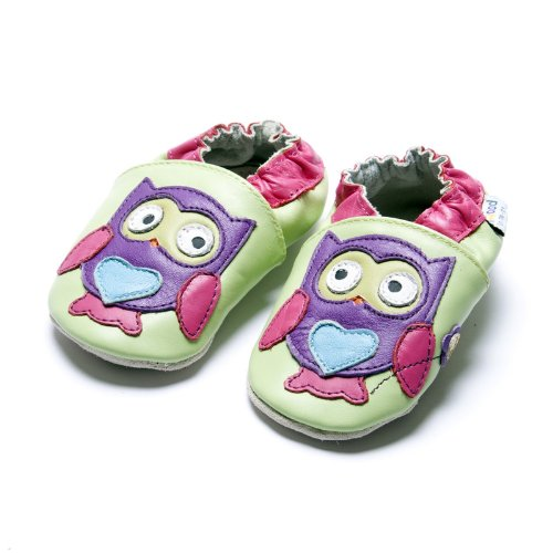 Jinwood designed by amsomo - Girls - Maedchen - Hausschuhe - Lederpuschen - Krabbelschuhe - soft sole / mini shoes div. Groeßen owl purple soft sole