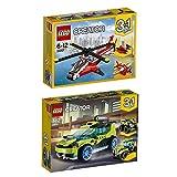 Lego Creator 3-in-1 2er Set 31057 31074 Helikopter + Raketen-Rallyeflitzer