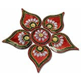 Handmade Elegantly Designed Red Rangoli - With Round Shaped Base And Leaf Shape Design Decorated With Artificial Pearl Stones - 7 Pieces