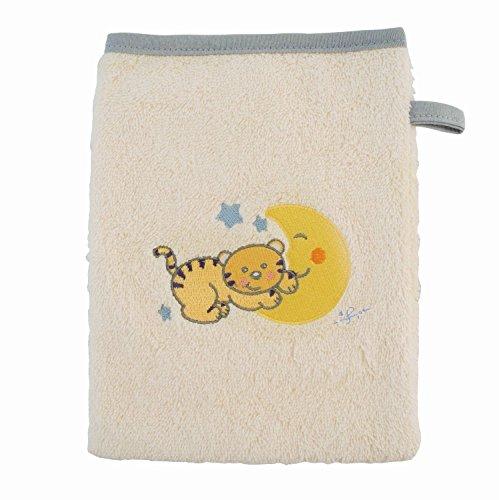 BIECO 44500002 - Baby Waschhandschuh, beige, mit grauem Rand und Motiv Katze Mia, ca. 22 x 17 cm, aus 100{b7214cab44cae387988e9bfe561b18d6fd245e1e5c756d422bfed970f0c90b9d} Baumwolle