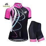 ZEROBIKE® Traspirante Giacca 4D cuscino imbottito Shorts pantaloni delle calzamaglia ciclismo Maglie maniche corte ad asciugatura rapida delle donne
