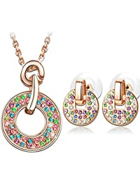 Young & Forever Mothers Day Gifts Timeless Treasure Rainbow Multicolor Lucky Circle Crystals From Swarovski Pendant...