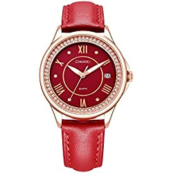 Comtex Women's Watch Rose Gold Tone Red Dial with Calendar Fashion Ladies Watches