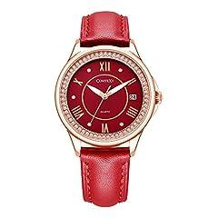 Idea Regalo - Comtex, orologio da polso, da donna, con diamanti e cristalli, quadrante analogico al quarzo, colore rosso, cinturino in pelle