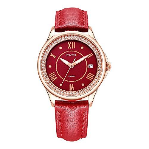 Comtex Damen Uhr Analog Quarz mit Leder Armband Rot