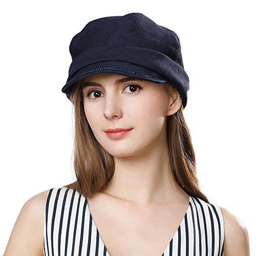 SIGGI Faltbare Schirmmütze Damen Packbare Sommermütze Newsboy cap Schwarzblau