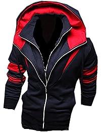 Herren Jungen Slim Fit Hoodie Sportwear Laessige Jacke Hoher Kragen Oberkleidung Outerwear