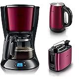Frühstücksset burgunder - Philips HD7459/31 Daily Filter-Kaffeemaschine, Timer, burgunder/schwarz mit Toaster und Wasserkocher