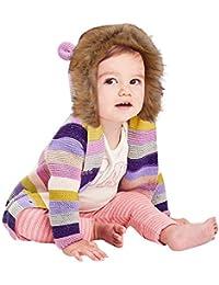 JiaMeng Suéter a Rayas con Capucha de Punto Tops Ropa de Abrigo cálido Chaqueta de algodón para niños Algodón Engrosamiento Chaqueta