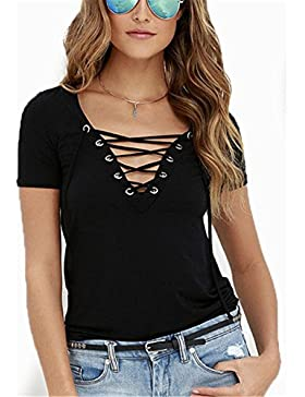 Hippolo da donna a maniche corte, collo a V bendaggio morbido camicie casual camicetta primavera estate Black...