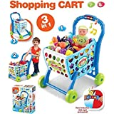 SUPER TOYS Pretend Play Light & Music Supermarket Shopping Cart Toy Trolley With Full Grocery Food Toy Pretend Play For Kids - Blue