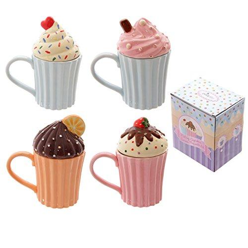 Puckator CAKE33 Tazza con coperchio Cupcake, Ceramica, 1 pezzo, colori assortiti