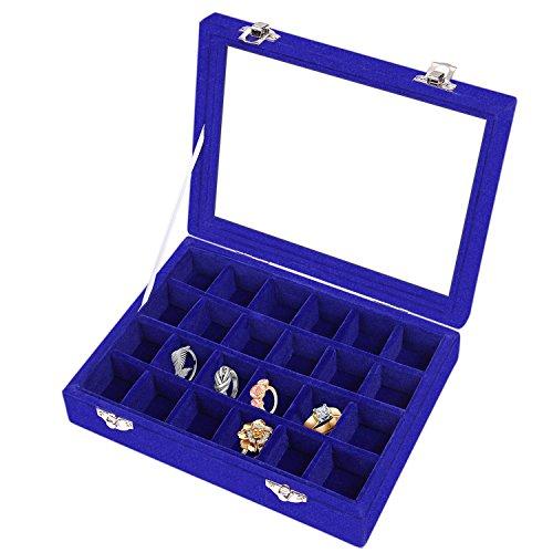 Meshela Neu 24 Fächer Damen Schmuckkasten Schmuck Box Schmuckkoffer Schmuckständer Aufbewahrungsbox für Ringe Ohrringe Halskette(Blau)