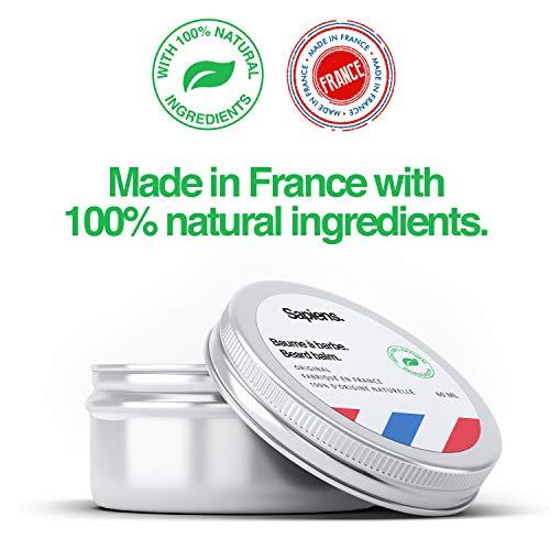 Bálsamo para barba de Sapiens • Made in France • Ingredientes de origen 100% natural • 60ml • Cera para barba y bigote • Nutrición,  estructuración,  hidratación • Aroma cedro y cítrico • Cuidado barba