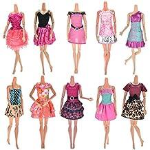Upper 10pcs Vestidos para Muñeca Barbie Vestidos Fiesta Color al Azar Vestido Fashion Falda Mini Fiesta