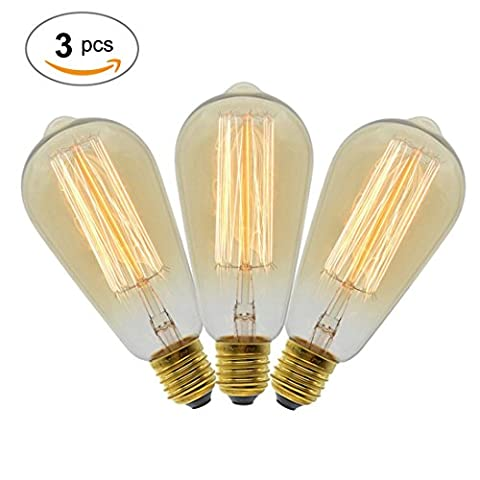 Vintage Edison Ampoule, à intensité variable 40W ST64Ampoule Antique Cage d'écureuil Filament Light pour décorer Maison, E27,2700K, Blanc chaud, E27 40.0 wattsW 240.0 voltsV