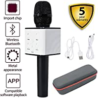 Q7 Micrófono de Karaoke Inalámbrico, Portátil 3-en-1 Micrófono de Mano Altavoz