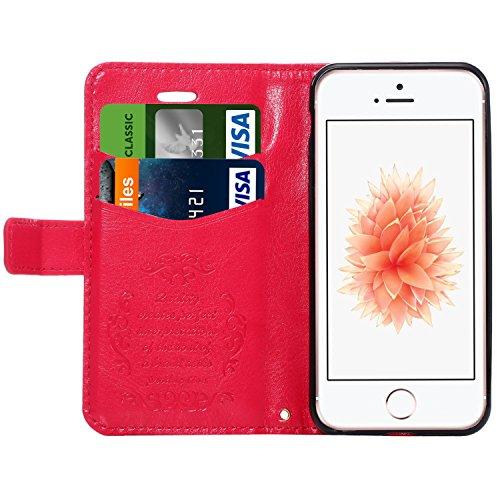 iPhone SE Hülle, Pasonomi® PU Ledertasche Schutzhülle Tasche Case Cover mit Standfunktion und Karte Halter für Apple iPhone SE / 5 / 5S (Braun) Hot Pink