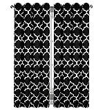 Blickdicht Ösenvorhang Ösenschal Schal Dekoschal für Fenster 2er Set Dekorativ 2 Stück viele Farben Klee Vorhänge mit Ösen 145x250 cm MAROKO (DL-25B Schwarz)
