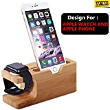 TASLAR 2 in 1 Charging Stand Dock, Bamboo Wood Charger Station Cradle Holder
