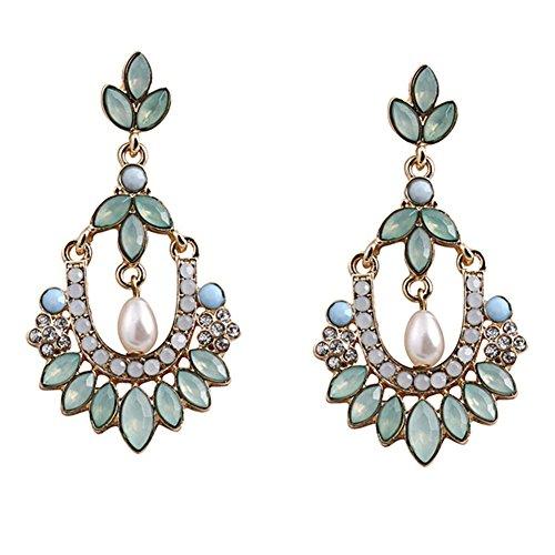 Hosaire 1 Paar Retro Ethno Perle Jeweled Diamond Flower Ohrringe Kreative Ohrringe Damen Mädchen Schmuck Geschenk 6*3cm -