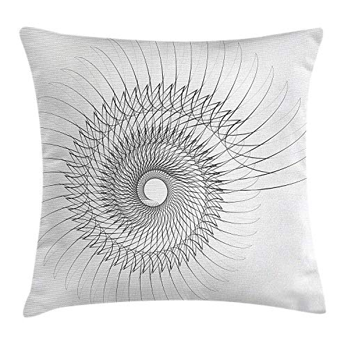 KLYDH Spiers Decor Throw Pillow Cushion Cover, Authentic Geometric Rotary Spiral with Helix Element and Regular Lines Cyclic Symbol, Decorative Square Accent Pillow Case, 18 X 18 Inches, Gray
