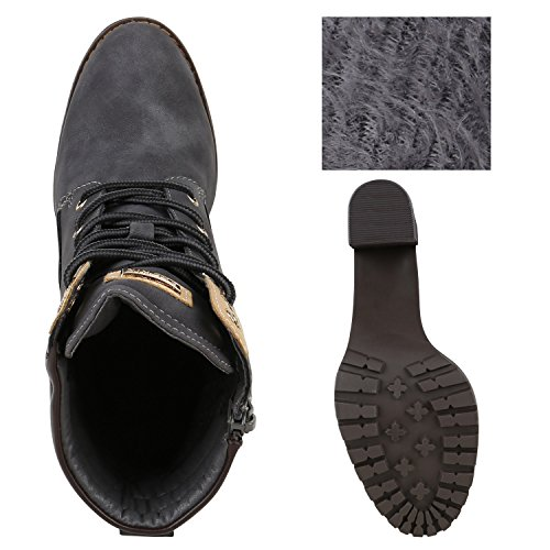 Warm Gefütterte Damen Stiefeletten Worker Boots Outdoor Schuhe Grau