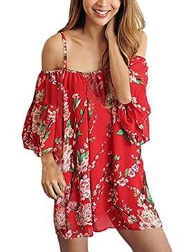 FEITONG Vestido de mujer Feitong Las Mujeres de La Gasa de Boho Flowy Tapas Flojas Hombro Atractivo de La Camiseta...