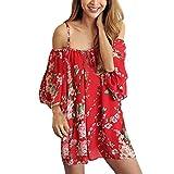Feitong Las Mujeres de la Gasa de Boho Flowy Tapas Flojas Hombro Atractivo de la Camiseta de la Blusa (XL)