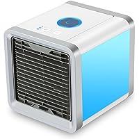 Mini Luftkühler, 3 in 1 Klimaanlage Luftkühler, Luftbefeuchter und Luftreiniger, Tragbare Klimaanlage Luftkühler für Büro, Hotel, Garage, 3 Stufen und 7 Farben LED Nachtlicht