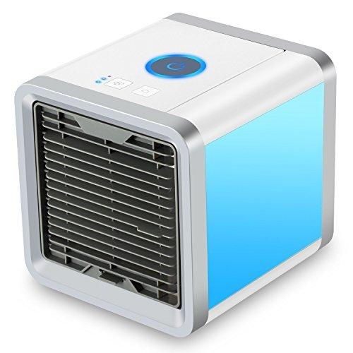 Mini Luftkühler, 3 in 1 Klimaanlage Luftkühler, Luftbefeuchter und Luftreiniger, Tragbare Klimaanlage Luftkühler für Büro, Hotel, Garage, 3 Stufen und 7 Farben LED Nachtlicht (Patentierte Led)