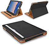"MOFRED® Black & Tan iPad Air 2 (Launched 2014) Leather Case-MOFRED®- Executive Multi Function Leather Standby Case for Apple iPad Air 2 with Built-in magnet for Sleep & Awake Feature -- Independently Voted by ""The Daily Telegraph"" as #1 iPad Air 2 Case!"
