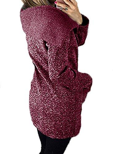 Automne Hiver Femme Sweats à Capuche Sport Pulls Hooded Manche Longue Sweat-shirts Oblique Fermeture éclair Hoodie Haut Casual chic Pulls Sweatshirt Violet
