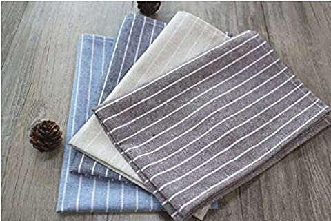 K&C 100% Linen Hemstitch Napkins Hand Crafted and Hand Stitched Napkins Oversized Basic Napkin Set of