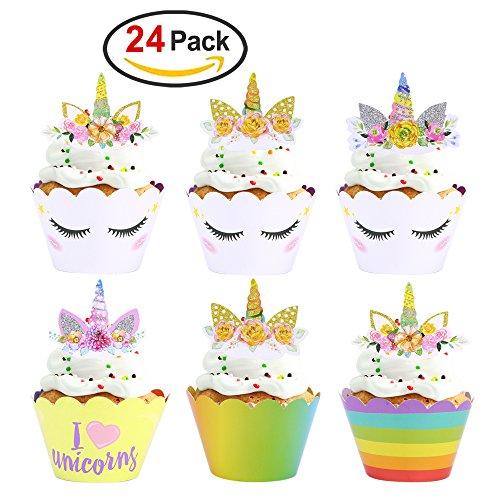 Konsait Einhorn Cupcake Toppers und Cupcake Wrappers, Unicorn Kuchen Dekoration für Mädchen...