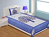RajasthaniKart 100% Cotton Single Traditional Bedsheet and 1 Pillow Cover