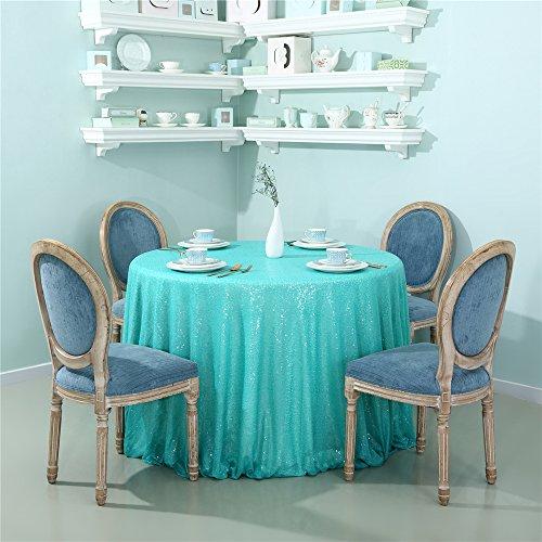 Zdada Runde Pailletten-Tischdecke für Heimdekoration, Tiffany Blue, R-108