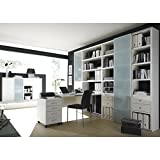 Wohnwand Bücherregal mit Schreibtisch & Sideboard TOLEO238 Lack weiß