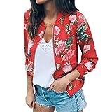 Rosennie Damen Mode Lange Ärmel Spitze Blazer Anzug Beiläufig Jacke Mantel Herbst Winter Langram Bluse Outerwear (Rot,M)