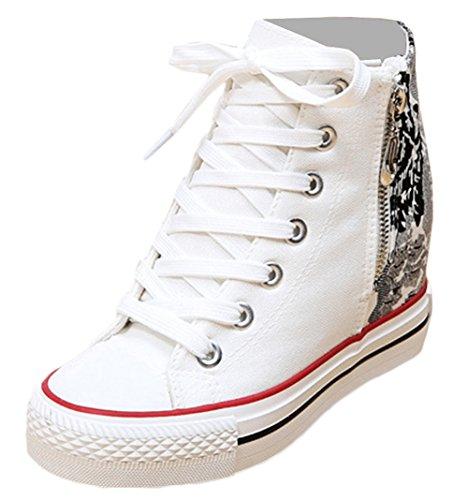 Scothen Damen Mädchen Schuhe Sneakers Turnschuhe Klassische High Top Sneaker|Sportschuhe Textil Schuhe Hoch Sneaker Leinenschuhe Blumenmuster Segeltuchschuhe Sportliche Outdoor Turnschuh