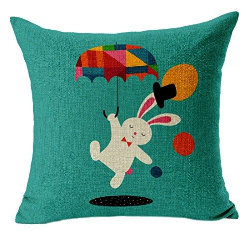 Yue Lian Kissenbezug mit Tier Muster Zierkissenbezug Kissenhülle für Wohnzimmer (Kaninchen)