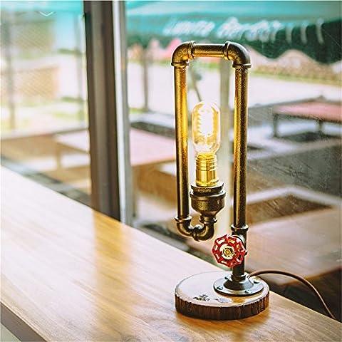 MEHE HOME-Stile retrò industriale Tubi dell'acqua lampada da tavolo Cafe Bar den salone ufficio camera da letto camera Decorazione lampada da comodino
