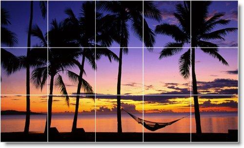 PLAYA FOTO SPLASH TILE MURAL B038  18X 30CM CON (15) 6X 6AZULEJOS DE CERAMICA