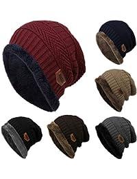 Voiks Gorro de Invierno Unisex Crochet Gorro de Punto Elástico de Lana  Tejer Beaniecasquillos Calientes para 954c4a4d50d