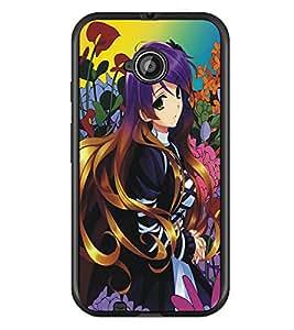PrintDhaba Beautiful Girl D-5311 Back Case Cover for MOTOROLA MOTO E2 (Multi-Coloured)