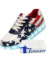 (Present:kleines Handtuch)Golden EU 43, Sport Schuhe Lackleder Sneaker Unisex-Erwachsene High Leuchtend Farbe Damen 43 Top Turnschuhe Größe für 7 Weiß mode USB LED JUNGLE