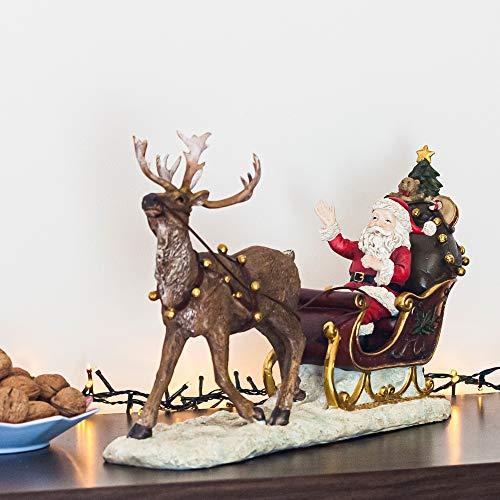 pille gartenwelt Deko Figur Weihnachten Weihnachtsmann für innen und außen | wetterfeste Dekoration 50 cm lang mit Schutzlack