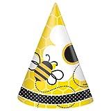 Fleißige Bienchen-Partyhüte mit schwirrenden Bienen und Blumenmotiv, 8er Pack